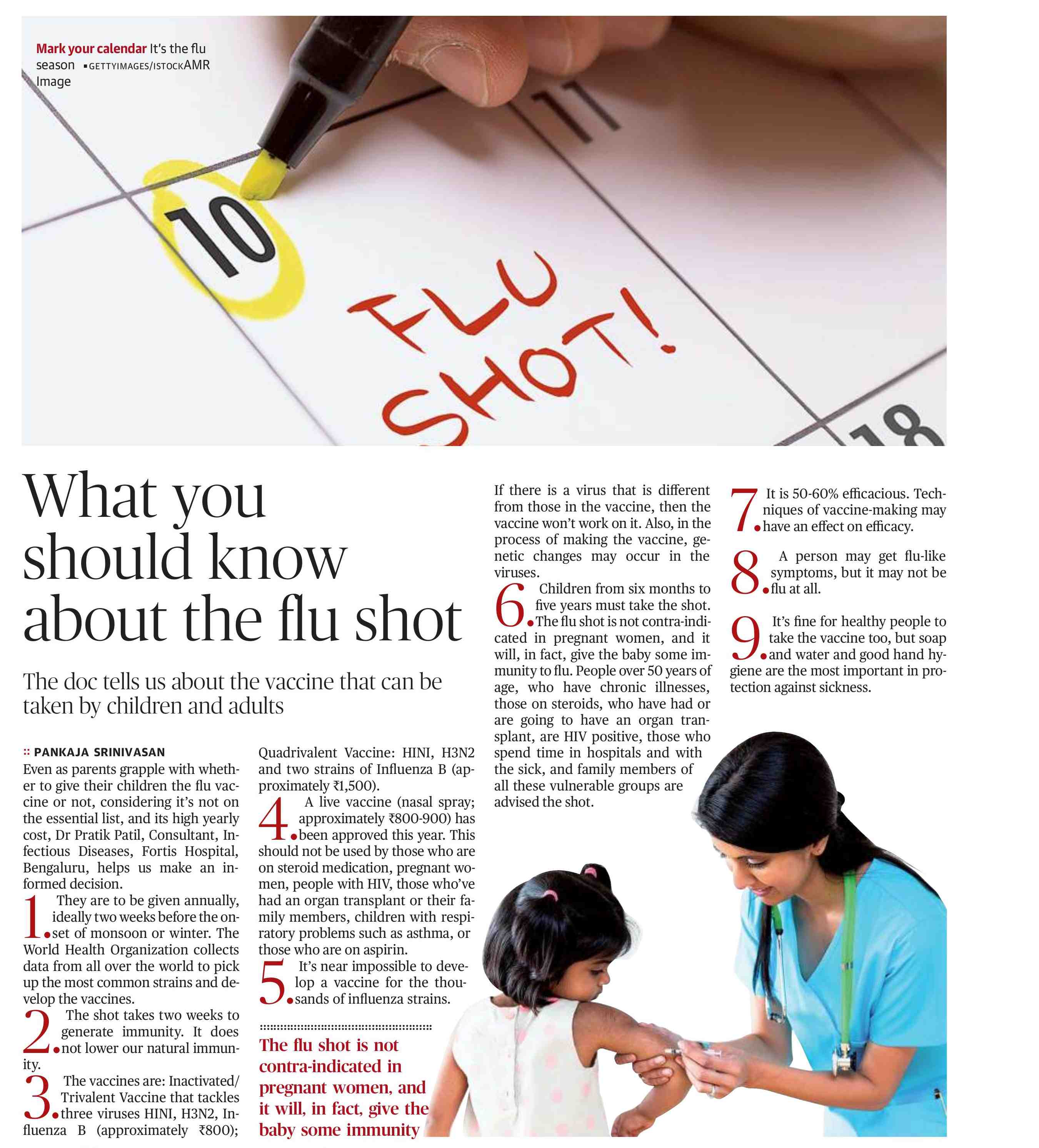 What You Should Know About The Flu Shot - Fortis Bangalore